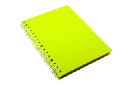 Lime green notebook isolated on white background