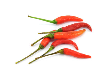 Red chilli peppers isolated on white background Stock Photo