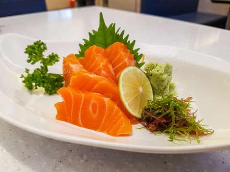 Raw salmon sashimi, Japanese food. Stock Photo