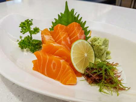 Raw salmon sashimi, Japanese food.