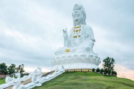 White Guanyin statue at Chaing rai, Thailand Stock Photo