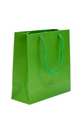 Green paper bag isolated on white background
