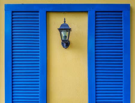 Blue wood planks frame and lantern background
