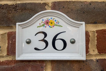 number 36: house plaque number 36 Stock Photo