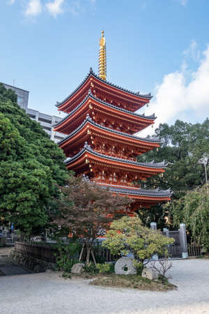Red Japanese Pagoda found in Fukuoka city, japan Stock Photo