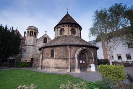 rotunda: Cambridge, England - May 6, 2016: The Holy Sepulchre church on a sunny day