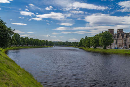 ness river: A riverside view of the city of Inverness, Scotland Stock Photo