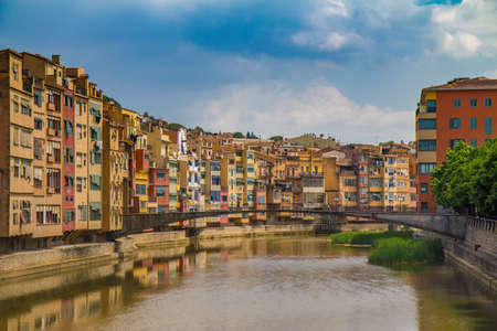 jewish houses: A river view of local houses in Girona, Spain