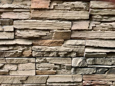 Stone brick texture vintage brown color road or floor as a background