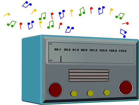 bygone: nostalgia radio on white in 3d Illustration
