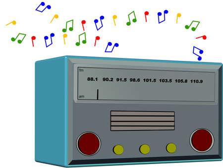 nostalgie radio op wit in 3d  Stock Illustratie