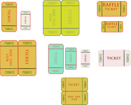 raffle tickets in 3d on white