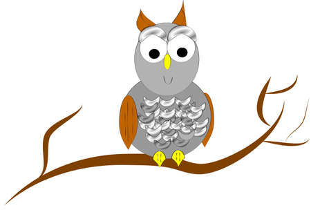 owl in tree in 3d and on white