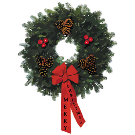scalable: 2009 xmas wreath with text on ribbons on white and scalable