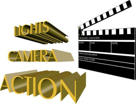 Junta de claqueta con el llamamiento de acción en 3D y en blanco Foto de archivo - 4368846