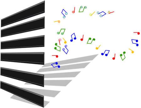 ivories: 3d illustration of piano keys Illustration