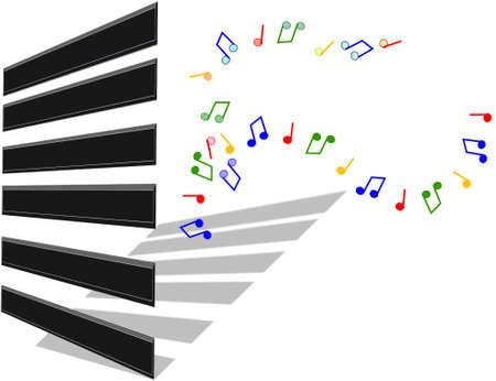 3d illustration van piano toetsen Stock Illustratie