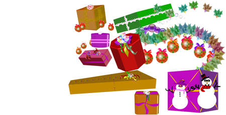 gifts and ornaments with snowmen in 3d for christmas 2009 Vector
