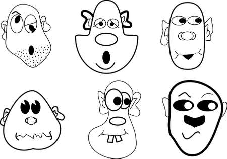 line art of cartoon faces in black and white