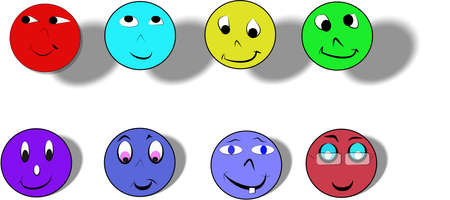 instant messaging: smilies in 3d on white in various colors and styles