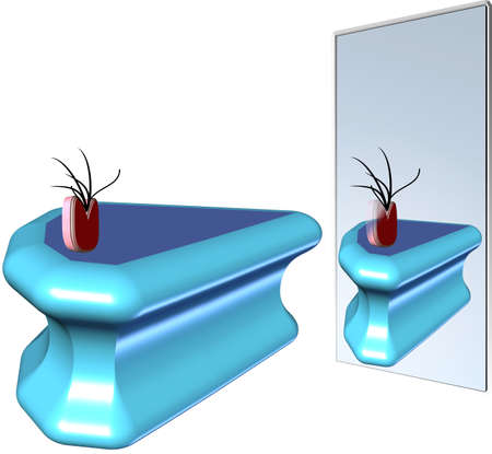 reflection mirror: limited reflection in mirror illustration in 3d and on white Illustration