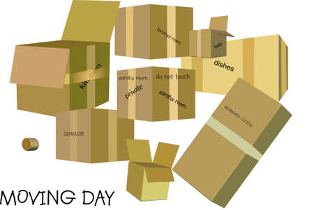 relocation: moving and shipping day in 3d and on white  Illustration