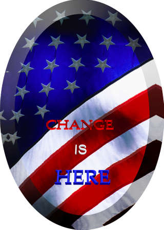 statesman: change is here catch phrase on oval flag of usa in 3d and on white
