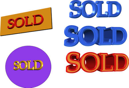 sold signs in gold blue and red in  3d and on white  Stock Vector - 4382282
