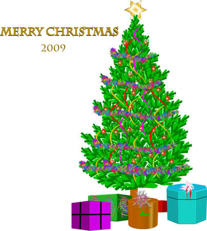 decorated christmas tree for 2009 in 3d with gifts and on white Stock Vector - 4399027