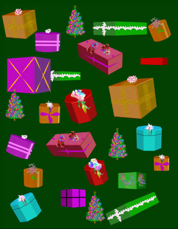christmas clip art gifts wallpaper on hunter green  Vector