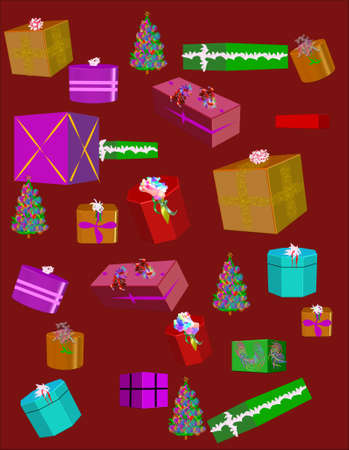 christmas clip art gifts wallpaper on red background Vector