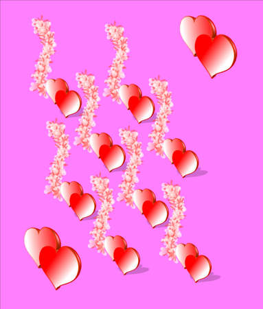 3d hearts  with flowers on pink background wallpaper Illustration