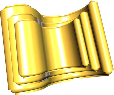 golden scrolls on white and 3d