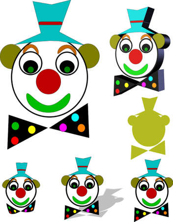 clowns illustration in 3d and on white with various styles and colors Stock Vector - 4456635