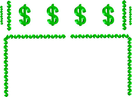 3d money symbol border in green and on white