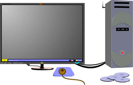 complete computer with monitor and accessories in 3d on white Vector