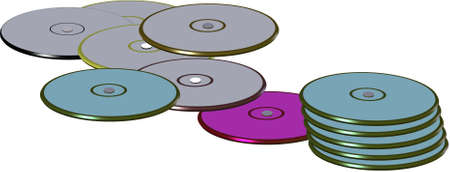 compact disks in colors and stacked on white and in 3d