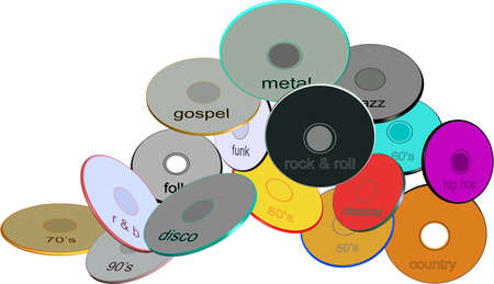 assorted genre music compact disks in various colors and sizes in 3d on white Vector