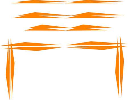 オレンジ色のスパイクの枠線と白のコーナー  イラスト・ベクター素材