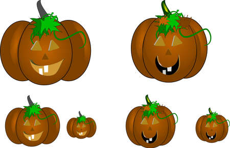 carved pumpkins for the fall season on white photo