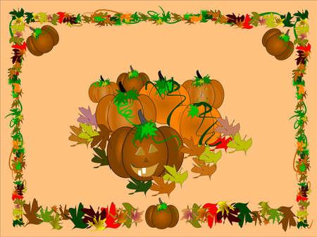 halloween background of bountiful harvest on orange Ilustração