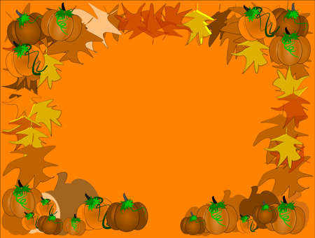 pumpkin patch background with leaves and vines on orange  for fall