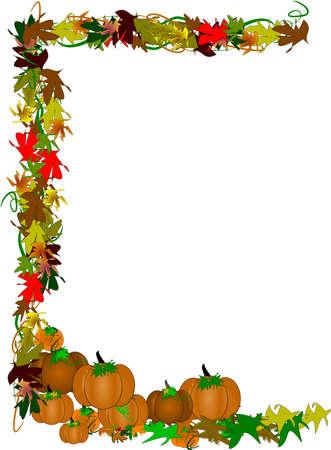 elaborate pumpkin border for fall  Vector