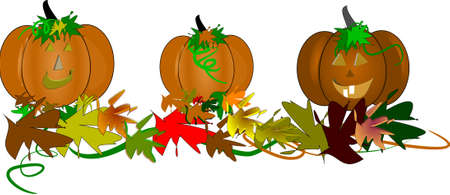white patches: three toothy pumpkins with leaves and vines for autumn season halloween