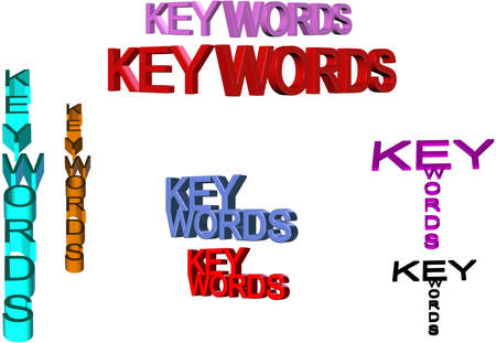 keywords text in 3d and multi colors on white clipart Vector