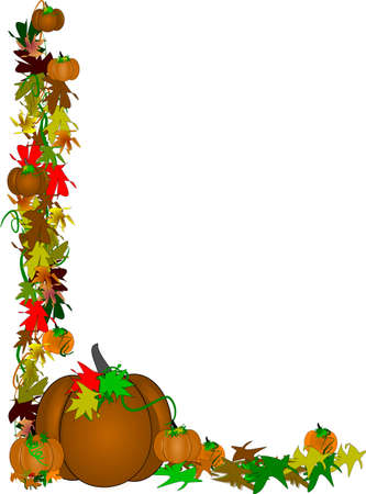 single brown pumpkin with leaves and vines border on white Illustration