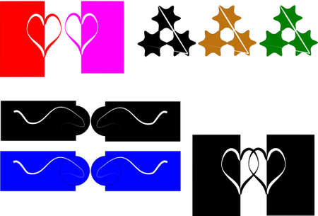 secluded: design elements of hearts  in black and white and colors on white