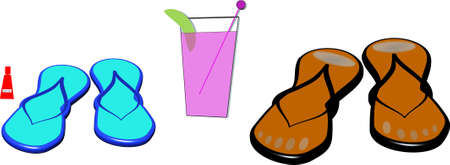 scalable: his and hers sandals with pink drink Illustration