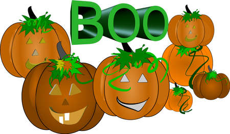 pumpkins with boo text on white Stock Vector - 4533002