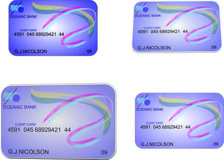 bank cards in 2d and 3d Vector